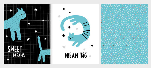 Cute Hand Drawn Cat Vector Illustration Set. Blue Smiling Cats on Black and White Backgrounds. Hand Written Letters. Sweet Dreams. Dream Big. Infantile Style Design. Tiny Dots Pattern.
