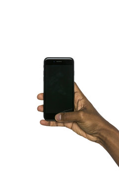 Mockup smartphone iPhone hold by male hand on white background