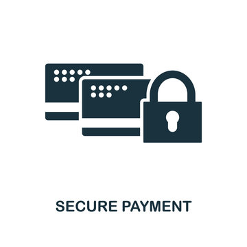 Secure Payment icon. Monochrome style design from internet security icon collection. UI. Pixel perfect simple pictogram secure payment icon. Web design, apps, software, print usage.