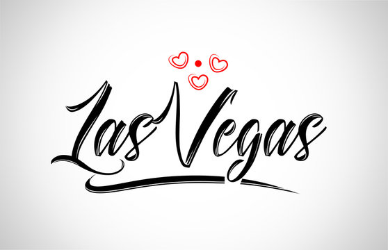 las vegas city design typography with red heart icon logo