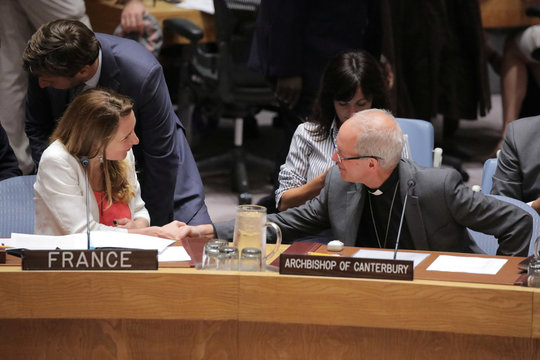 "Anne Gueguen, Deputy Permanent Representative of France to the United Nations greets Archbishop of Canterbury Justin Welby before his address the United Nations Security Council on ""mediation and its role in conflict"", during an open debate on maintenance"