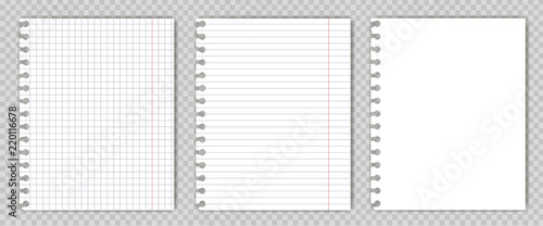 set of blank copy book sheets with torn edges mockup or template of