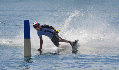 Poster Nautique motorise Motosurf Competitor taking corner at speed making a lot of spray.
