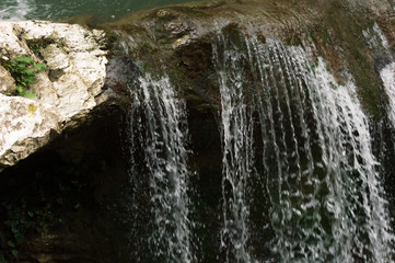 Close-up of a waterfall.  Beautiful background