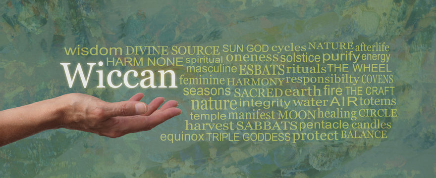 The Wiccan Way Word Tag Cloud - female open palm hand with the word WICCAN floating above and a relevant gold coloured word cloud on a rustic green coloured  background