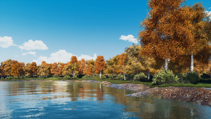 Peaceful autumn landscape with scenic colorful trees on the shore of calm forest lake or pond at daytime. With no people fall season 3D illustration.