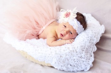 Cute tiny newborn baby princess in a ballet skirt with a bow on a basket with plaid. Soft tones. Adorable newborn infant girl stock image.