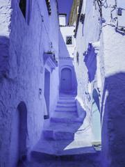 Buildings in blue in Chefchaouen Morocco