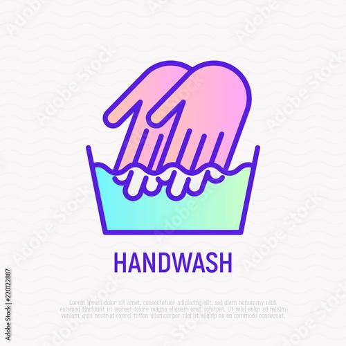Handwash Symbol Two Hands In Wash Bowl Thin Line Icon Modern