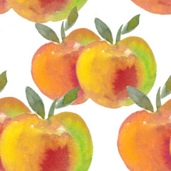 apple with yellow fresh green leaves. watercolor illustration