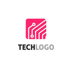 Tech logo vector illustration, red color technology logotype with circuit or electronic board symbol