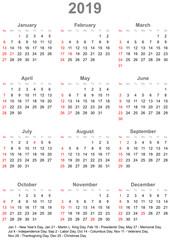 Einfacher Kalender 2019 mit gesetzlichen Feiertagen und Wochenstart Sonntag für die USA