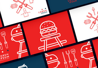Patriotic Postcard Layout Set with BBQ Illustrations