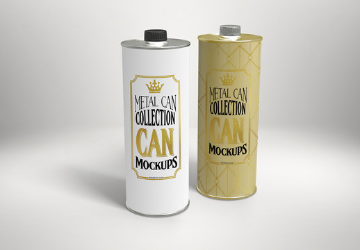 Metal Round Oil Can Mockup