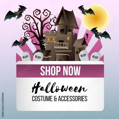Halloween Theme Shop With Dark Haunted House