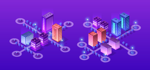 Future 3d futuristic isometric city from smart business technology, digital modern concept background, street design building on an urban house of cityscape. Fotomurales