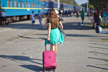 Girl at the railway station in Ukraine