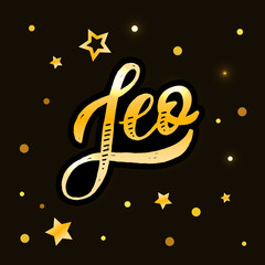Leo lettering Calligraphy Brush Text horoscope Zodiac sign