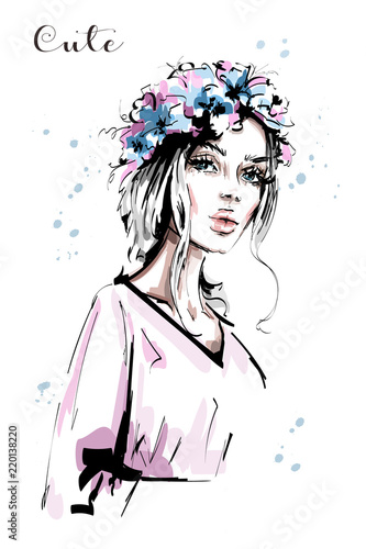 Hand Drawn Beautiful Young Woman With Flower Wreath Stylish