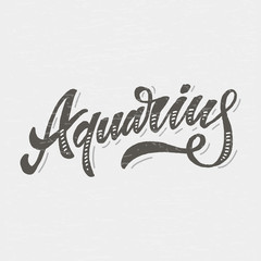 Aquarius lettering Calligraphy Brush Text horoscope Zodiac sign