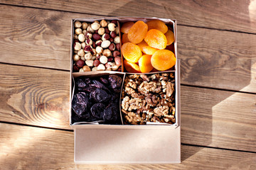 A box of nuts and dried fruits.