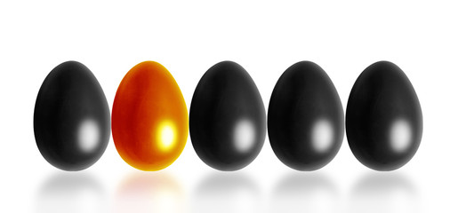Row of colored eggs