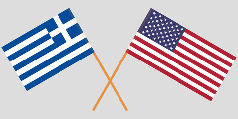 Greece and USA. Crossed Greek and American flags. Official colors. Correct proportion. Vector