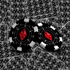 Casino poker background. The concept of falling chips. Two chips are clouded on each other with beautiful ornaments and different suits. In the background are the back of the cards.