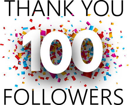 Thank you, 100 followers. Card with colorful confetti.