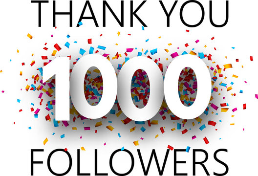 Thank you, 1000 followers. Card with colorful confetti.