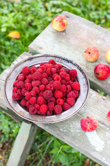 fresh harvested raspberries in a metal bowl on a wooden table. Around lie fresh apples