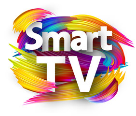 Smart TV sign with colorful brush strokes.