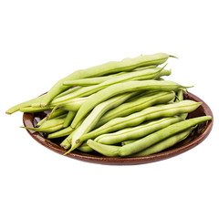 Fresh green beans in a clay plate on a table, white isolated background
