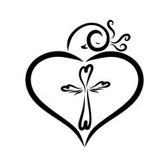 Elegant bird, creating a heart shape and a figured cross inside