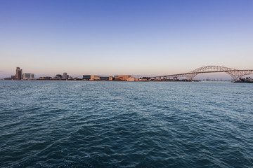 Panorama of .Corpus Christi at sunrise