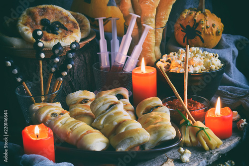 Halloween Trick Or Treat Party Funny Delicious Food And Pumpkin On
