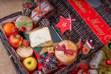 Christmas Food Hamper.  Wicker Hamper loaded with Christmas Treats and Fruits