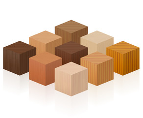 Wooden cubes - wood samples with different textures, colors, glazes, from various trees to choose - brown, dark, gray, light, red, yellow, orange decor models - vector on white background.