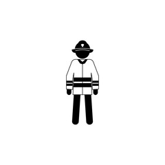 silhouette of a fireman icon. Special services element icon. Premium quality graphic design icon. Professions signs, isolated symbols collection icon for websites, web design