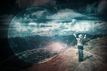 Woman with conceptual blockchain cyberspace background.
