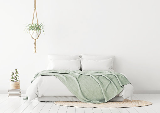 Home bedroom interior mockup with bed, green plaid, pillows, rug and plants on empty white wall background. 3D rendering.