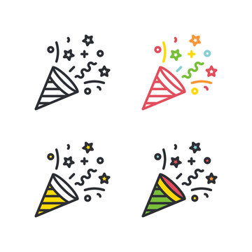 Party cracker flat simple line icons set.