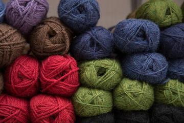 Beautiful bright yarn, crocheting studio interior