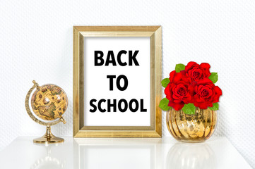 Back to school Golden picture frame decorations