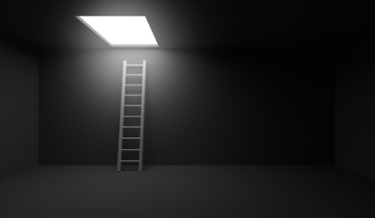 3d rendering stairs leading to the exit light window in the ceiling.