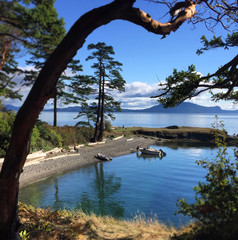 Boats beached at Active Cove, Patos island, San Juan Islands, Washington