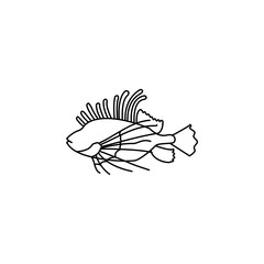 striped lionfish.Element of popular sea animals icon. Premium quality graphic design. Signs, symbols collection icon for websites, web design,