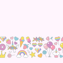 Unicorn objects flat vector design for greeting, birthday, invitation card, with place for text. Unicorn, rainbow, sweets, stars, balloons,crown and other objects with light pink background.