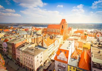streets of old town in Torun, Poland, retro toned Fototapete