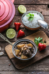 Potato and beef curry with coconut, thai cuisine